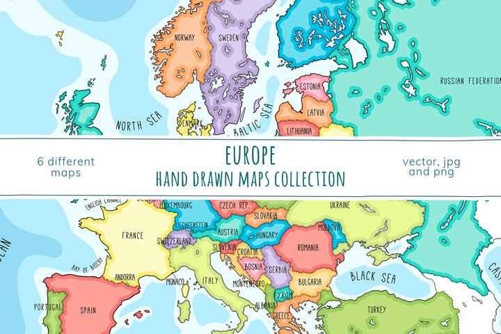 Maps of Europe. Hand drawn collection