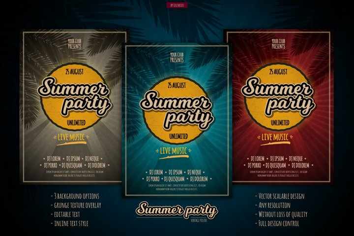 Vector Beach Party Flyer set