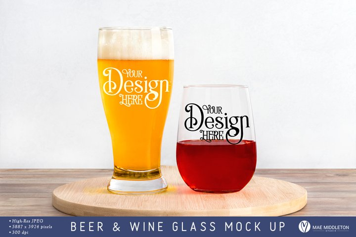 Beer Glass and Wine Glass Mock up, Styled Photo