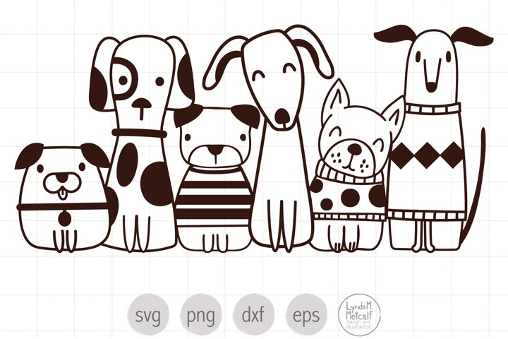 Cute Dogs SVG Cut File for Cricut, Dog Clipart