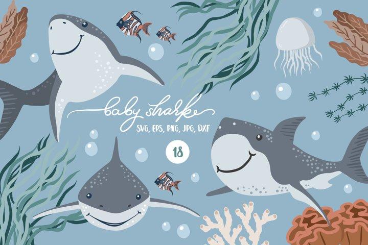 Cute Baby shark svg clipart. Under the sea digital set