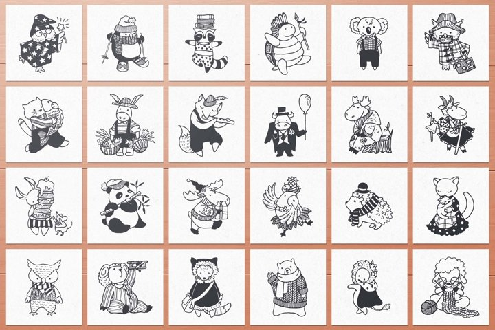 100 Hand Drawn Elements -Animals- example 1