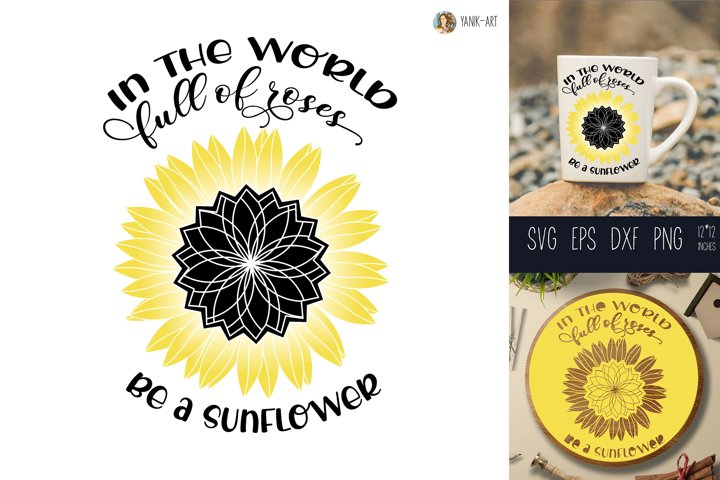 Quote SVG design with Sunflower