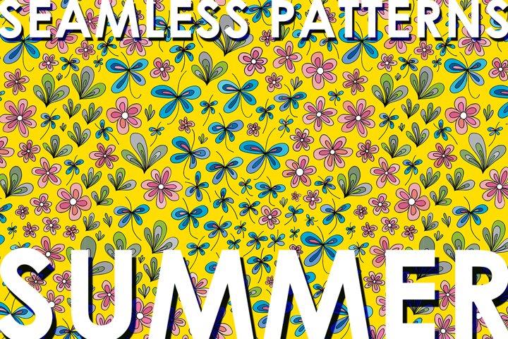 Floral summer patterns set
