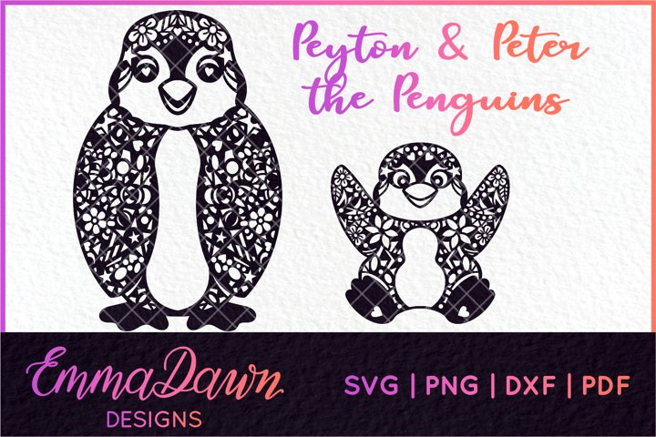 PENGUIN MANDALA / PATTERN 2 DESIGNS SVG, DXF, PNG, PDF, FCM