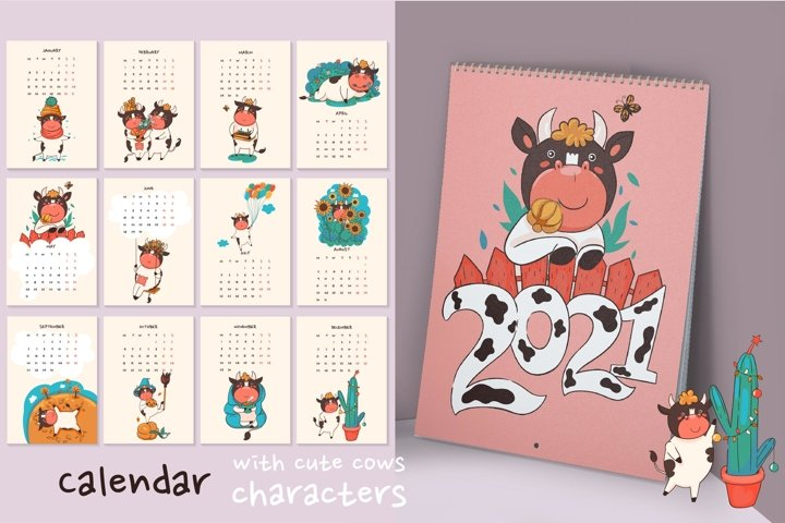 Calendar for 2021 with cute cow characters