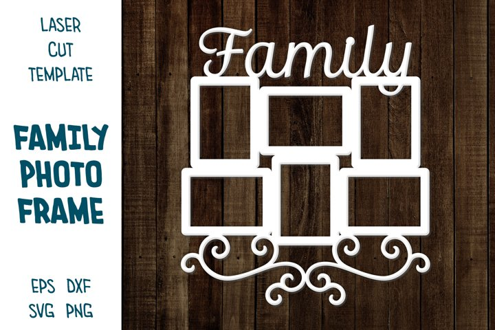 Photo Frames with sign Family, Collage for Family Photos