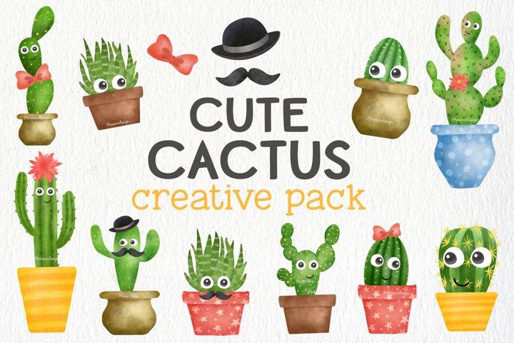 Cute Watercolor Cactus Creative Pack - Cactus Illustration