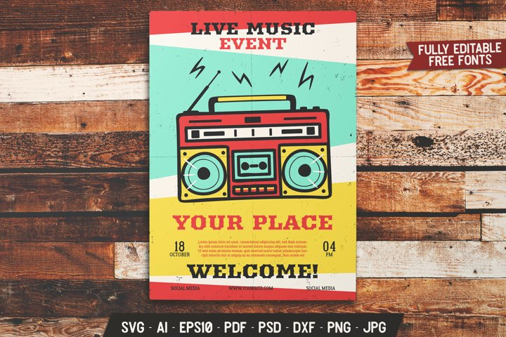 Live Music SVG Flyer Event Print Template - Retro Brochure