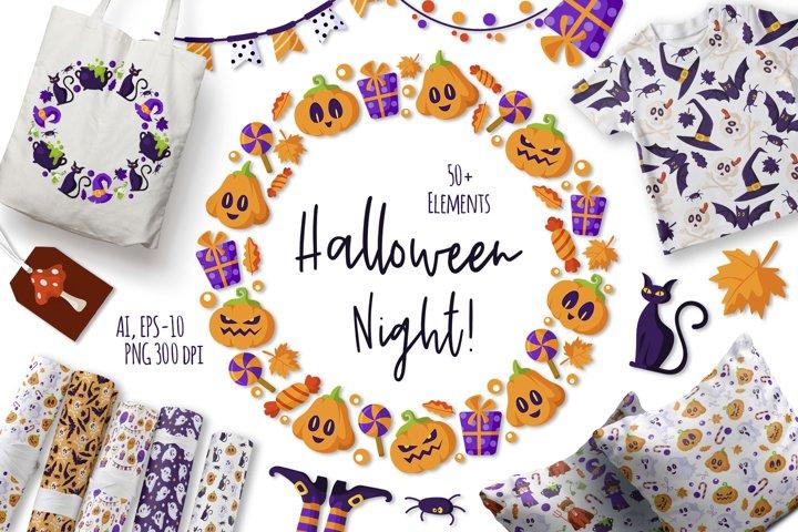 Halloween Night - cute vector set
