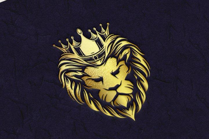 Crown Gold Lion Logo Company Premium