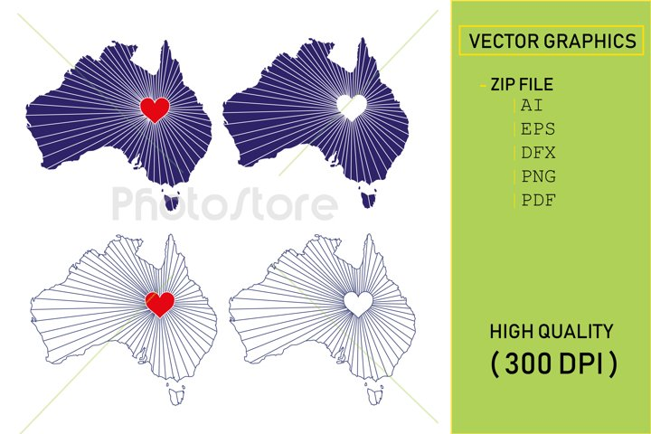 I Love Australia, Country Map Silhouette