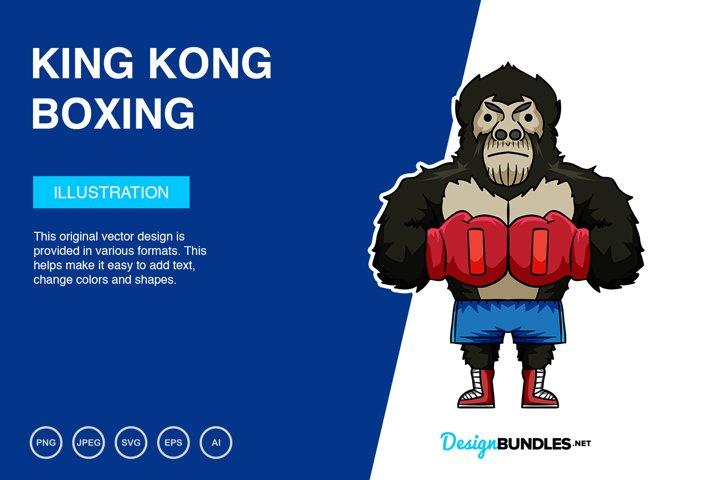 King Kong Boxing Vector Illustration