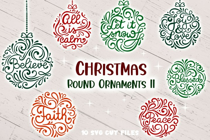 Christmas Round Ornaments II- 10 SVG cut files