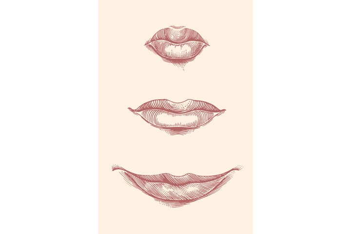 Lips. Hand drawn illustration. Vector engraving.