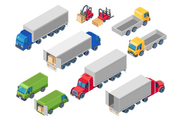 Trucking logistic isometric trucks. Loading truck, cargo con