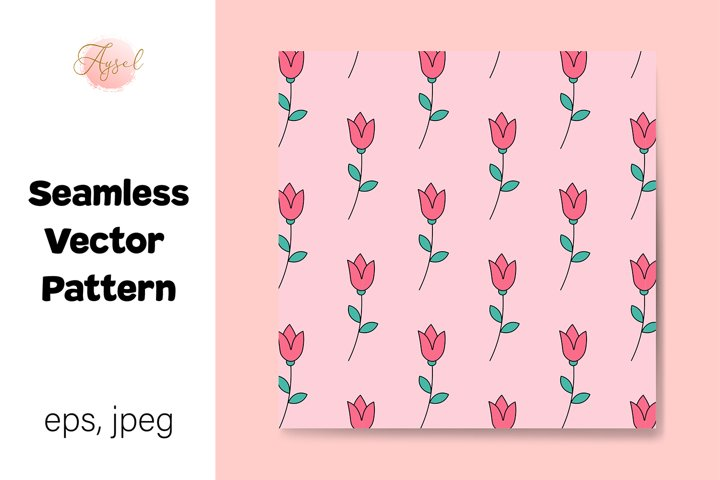Valentines Day Tulip Flowers Seamless Repeat Pattern