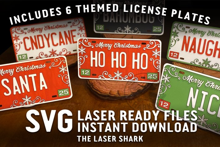 Christmas License Plates SVG Laser cut files for Glowforge