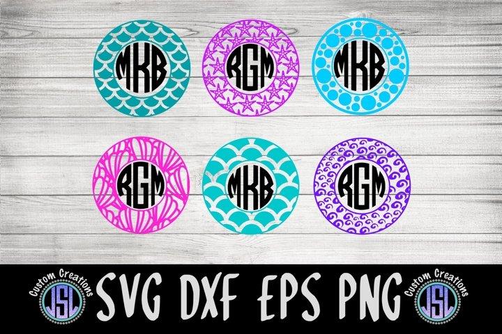 Mermaid Monogram Frames | Set of 6 | SVG DXF EPS PNG