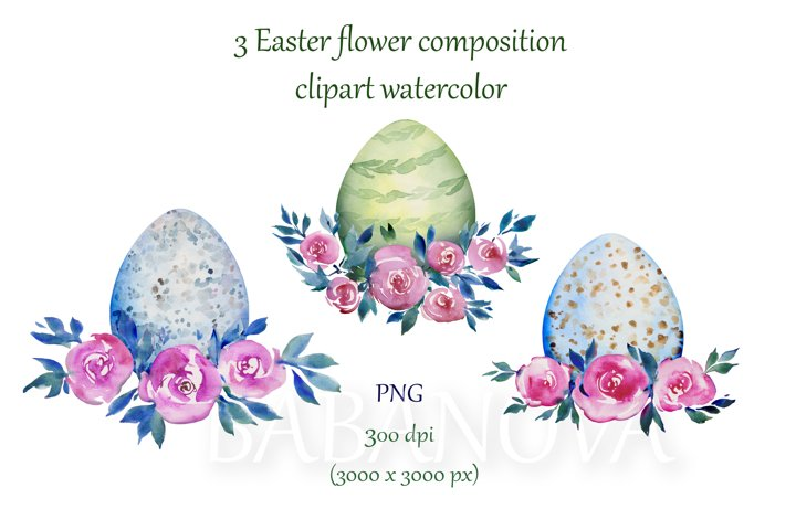 Easter clipart with roses and eggs