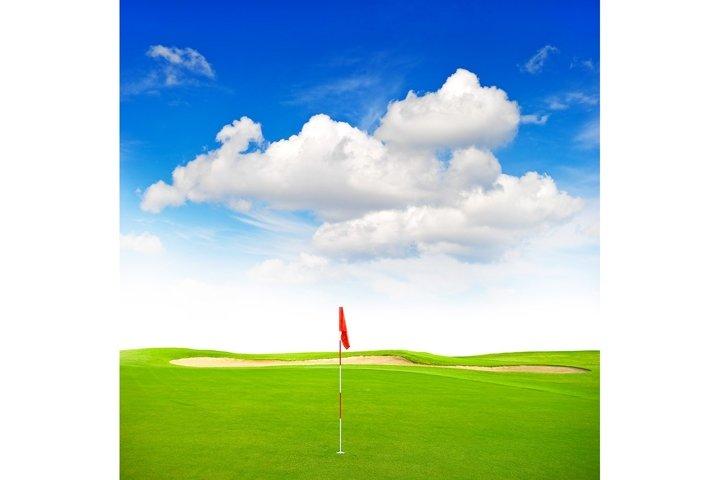 Green golf field red flag blue sky Golf club