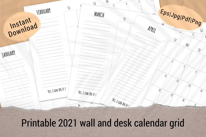 Printable monthly planner template 2021 week start on Sunday