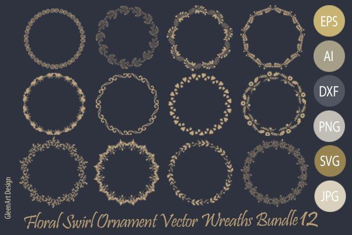 Floral Swirl Ornament Vector Wreaths Bundle