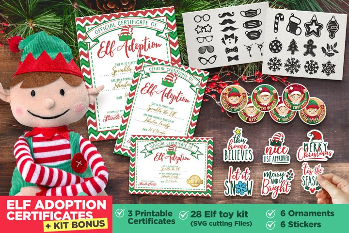 Elf Adoption Printable Certificate  Toy Kit Bundle