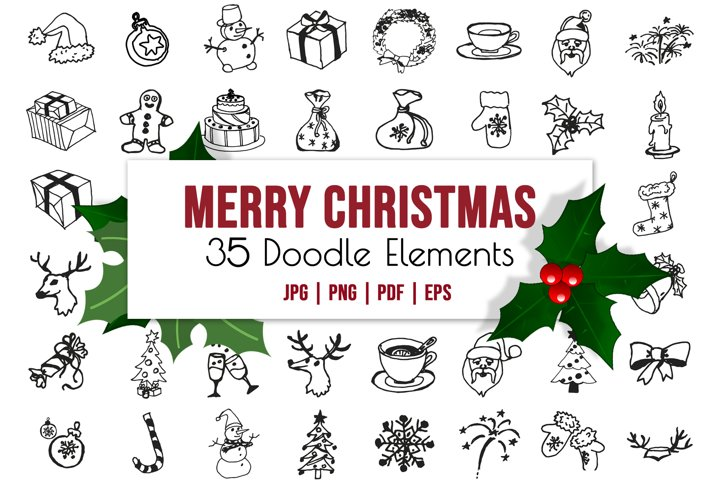 New Year doodle clipart. Christmas vector illustrations.