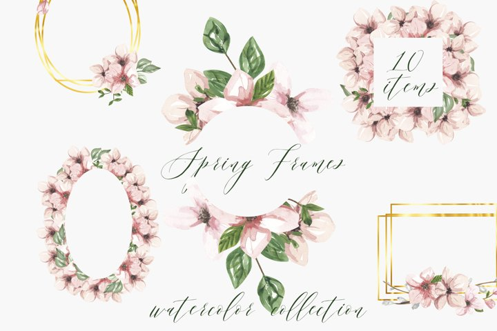 Watercolor frame pink flowers, apple blossom frame