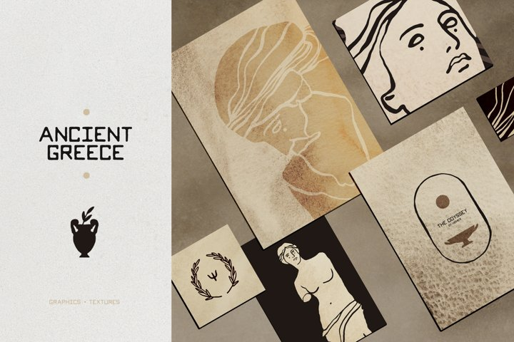 Ancient Greek Statue Line Art, Greece Aesthetic Graphics