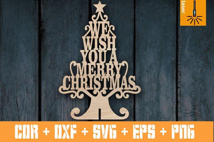 Wish You Merry Christmas Tree | Christmas tree for Laser