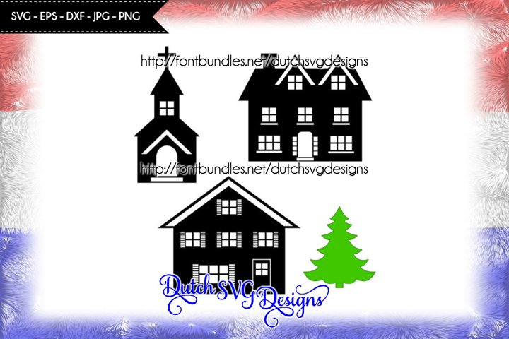 Cut file houses, church and christmas tree, christmas svg
