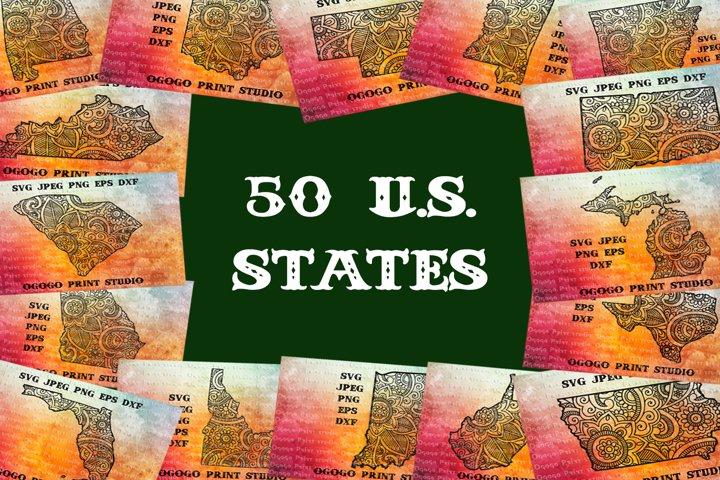 Mandala style 50 states Svg BUNDLE, United States, Zentangle