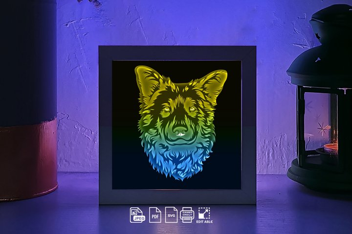 #84 Dog portrait, 3D Shadow box paper cut light box