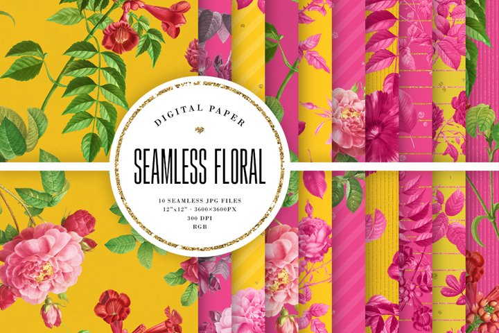 Bright Floral Seamless Patterns - Yellow & Hot Pink