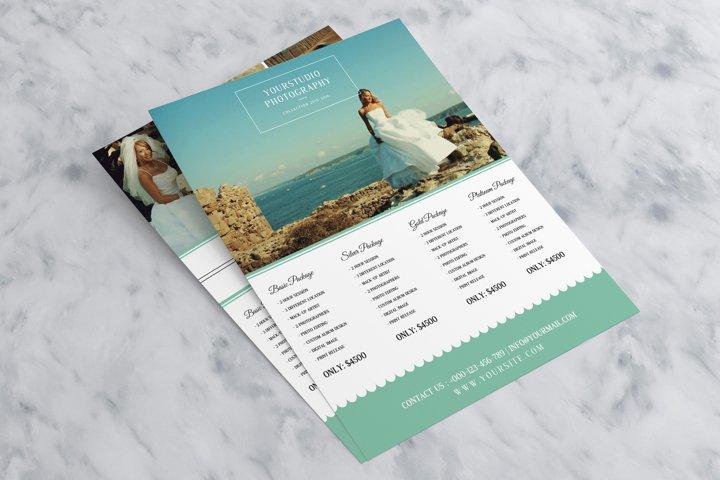 Teal Wedding Photography Pricelist Flyer