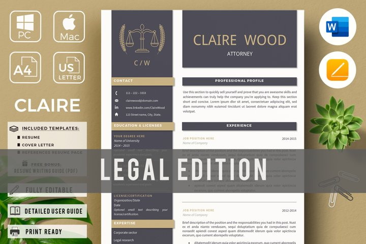 Lawyer Resume for MS Word & Pages, Attorney CV Template