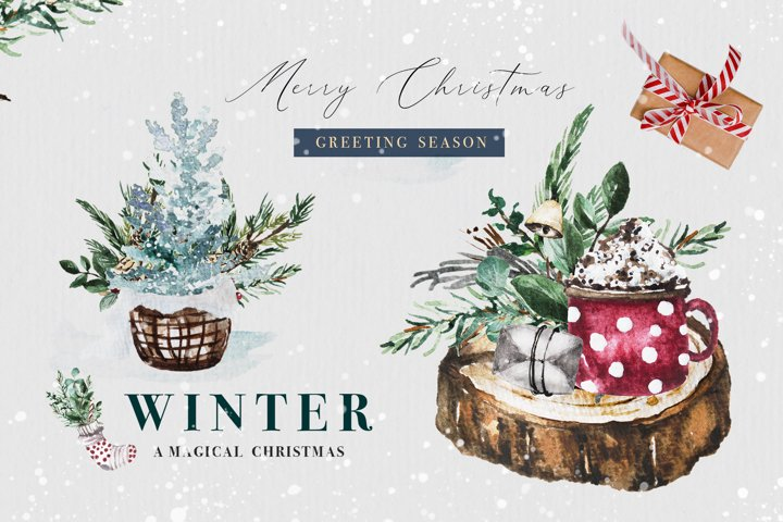 Watercolor Christmas Set - Winter Holiday Collection