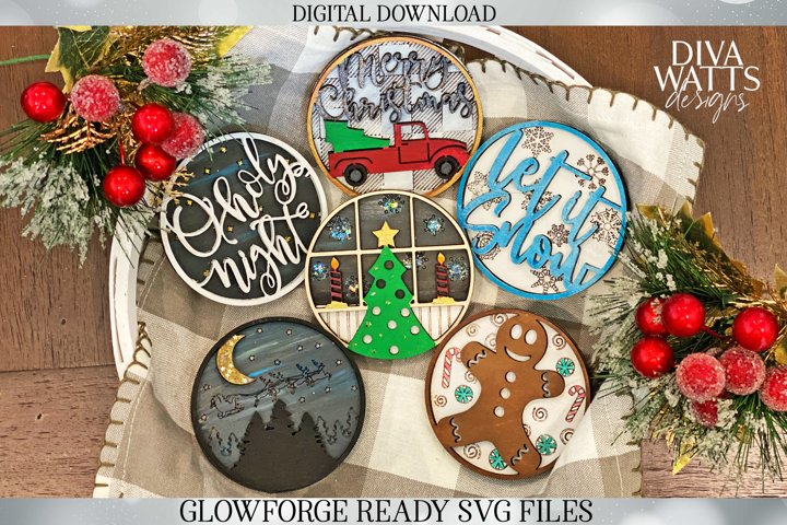 3D Christmas Signs | Glowforge SVG | Set of 6 Designs |