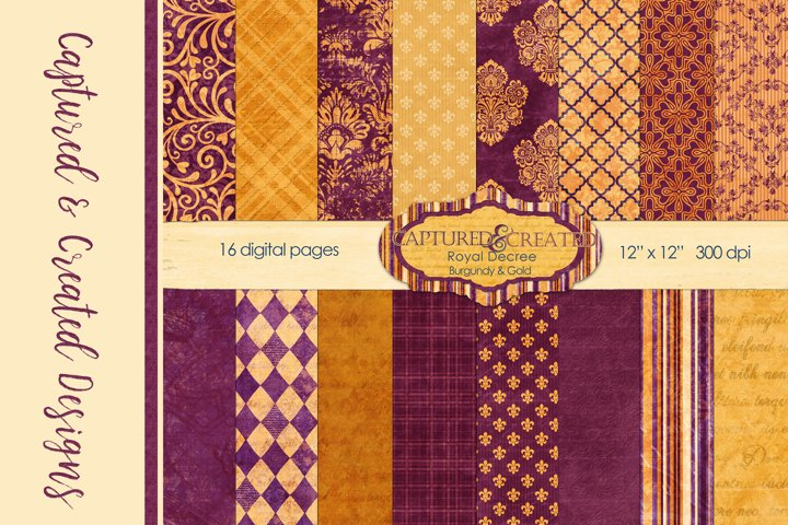 16 Royal Decree Burgundy & Gold Digital Paper Pack