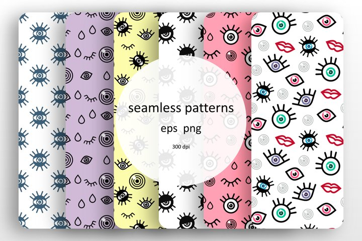 6 Seamless patterns with a baby design