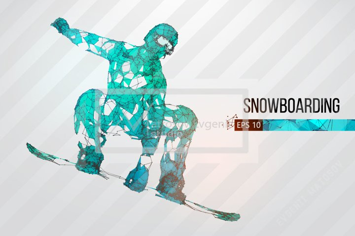 Silhouettes of a snowboarder, AI, EPS, PNG