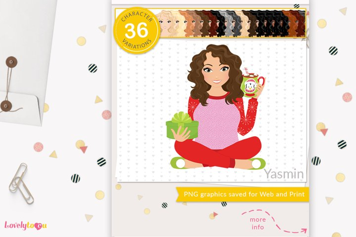 Christmas woman character clipart LVH11 Yasmin