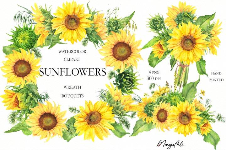 Sunflowers Bouquets, Flower Wreath Clipart, Watercolor