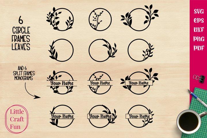 Circles Leaves Frames and Split Frames for Monograms