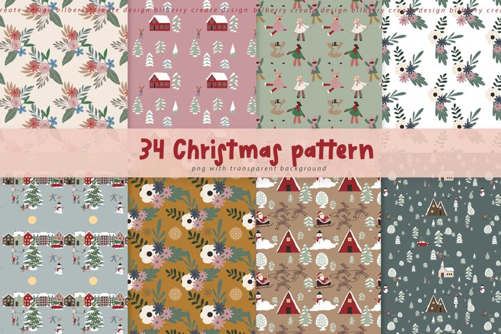 34 Christmas pattern set