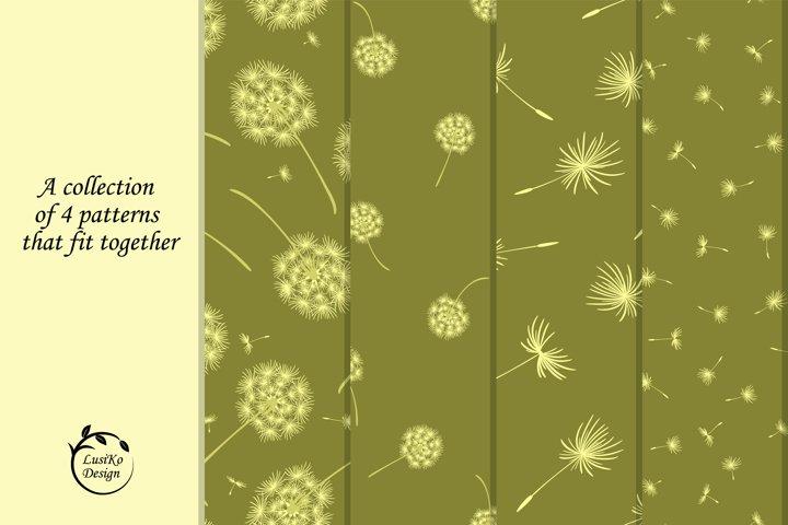 Dandelions. Seamless patterns in green
