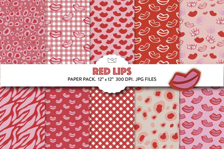 Red mouth digital paper, valentines day, pink papers