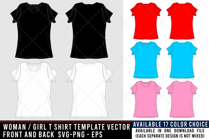 T SHIRT MOCKUP / TEMPLATE WOMAN, GIRL FRONT BACK SVG-PNG-EPS